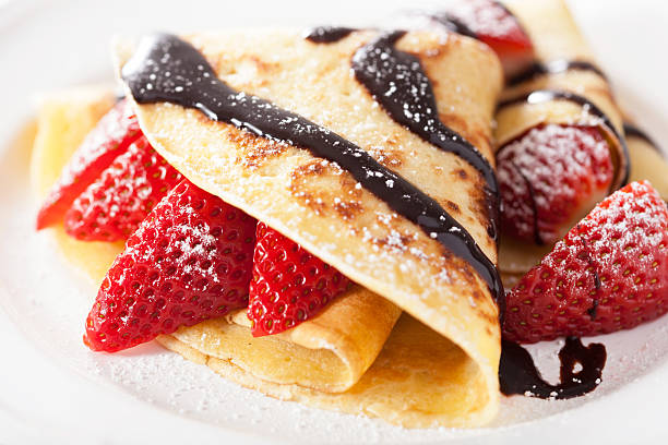 pancakes with strawberry and chocolate sauce - crepe bildbanksfoton och bilder