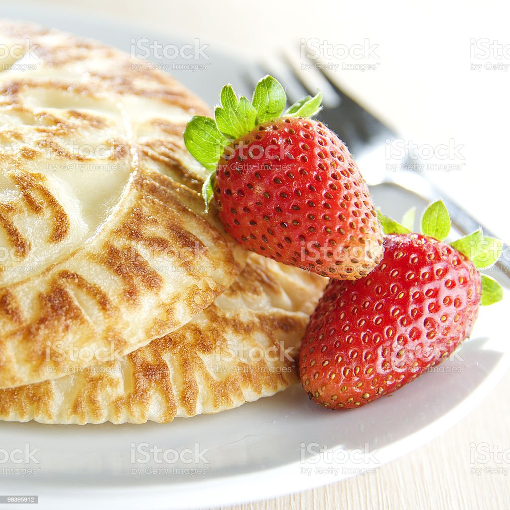 Pancakes with Strawberry royalty-free stock photo