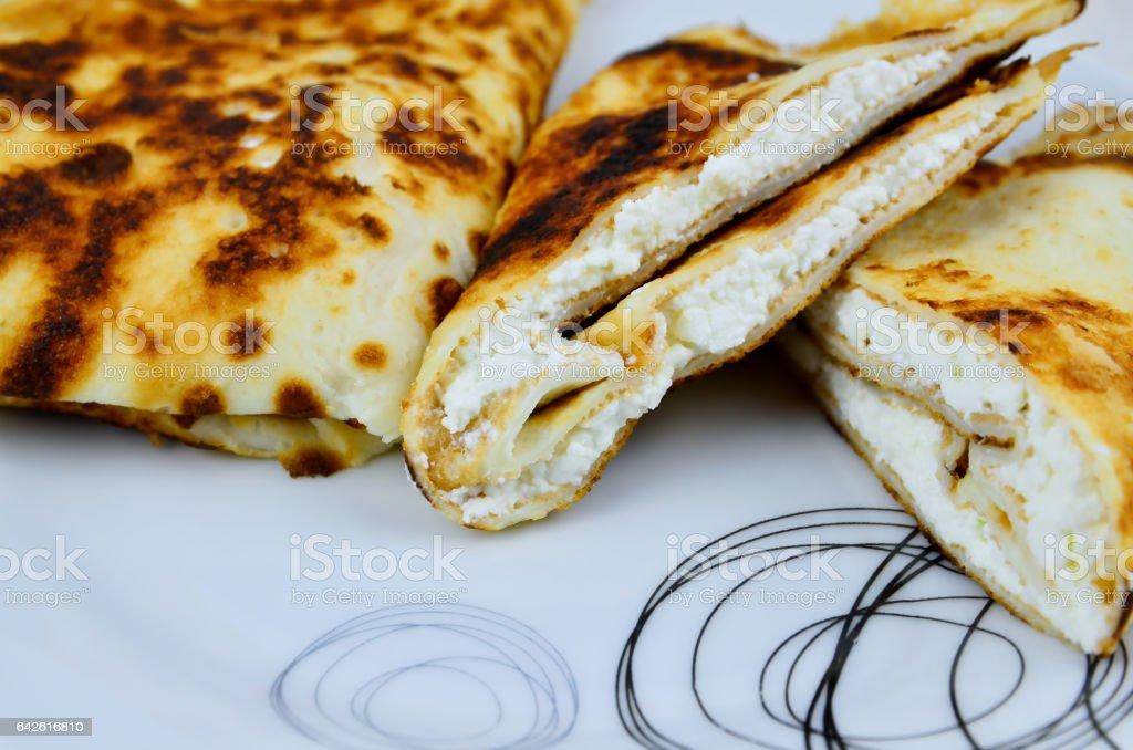 Pancakes with white cheese stock photo