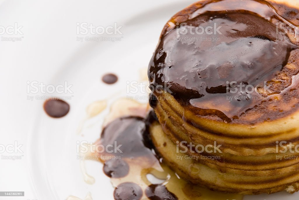 Pancake,topped with Honey and chocolate 3 royalty-free stock photo