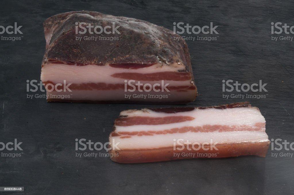Pancetta aufgeschnitten stock photo