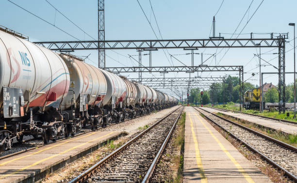 Pancevo, Serbia - 10.20.2018 : Tanks with gas and oil transportation by railroad stock photo