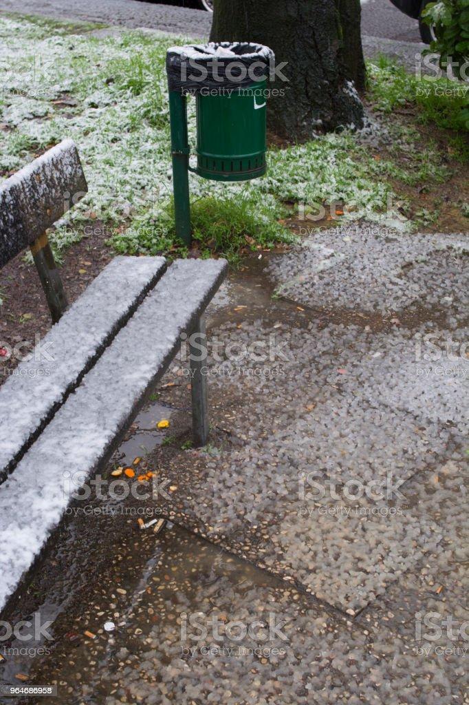 Panchina di legno nel parco royalty-free stock photo