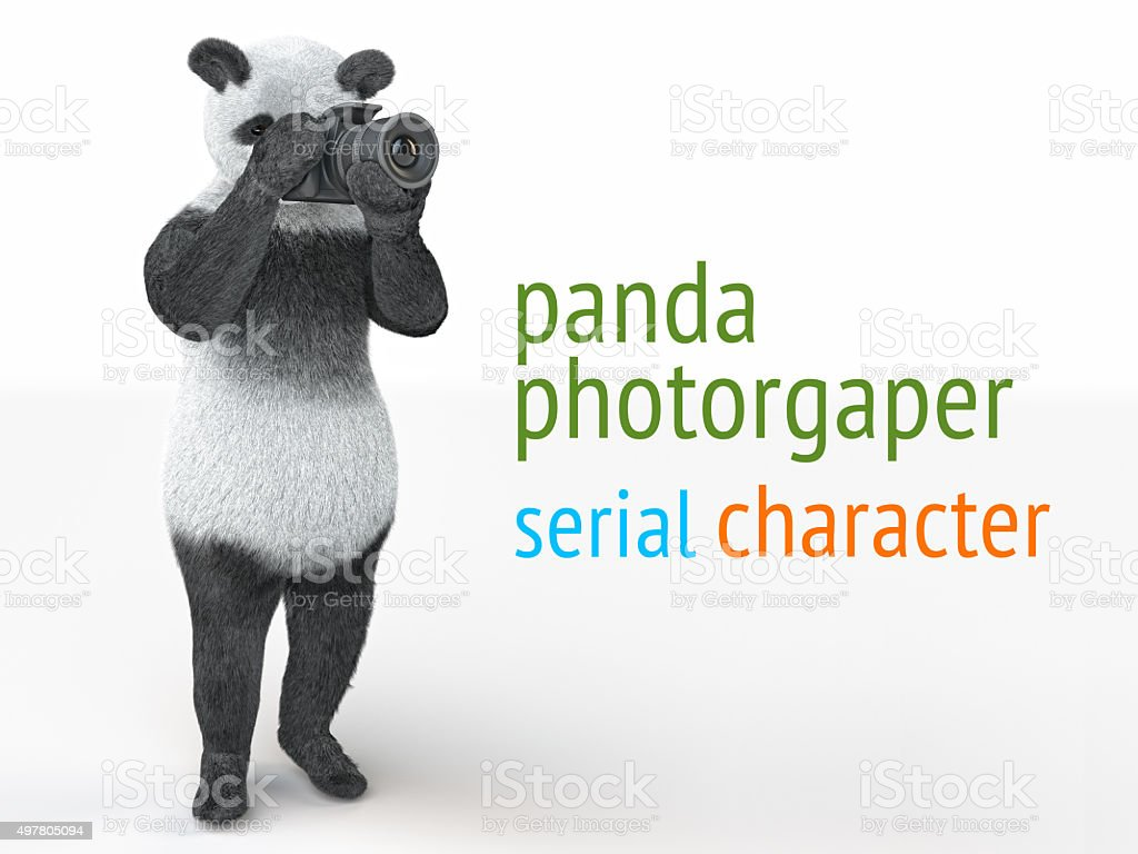 panda animail character photographer camera takes picture isolated background 3d stock photo