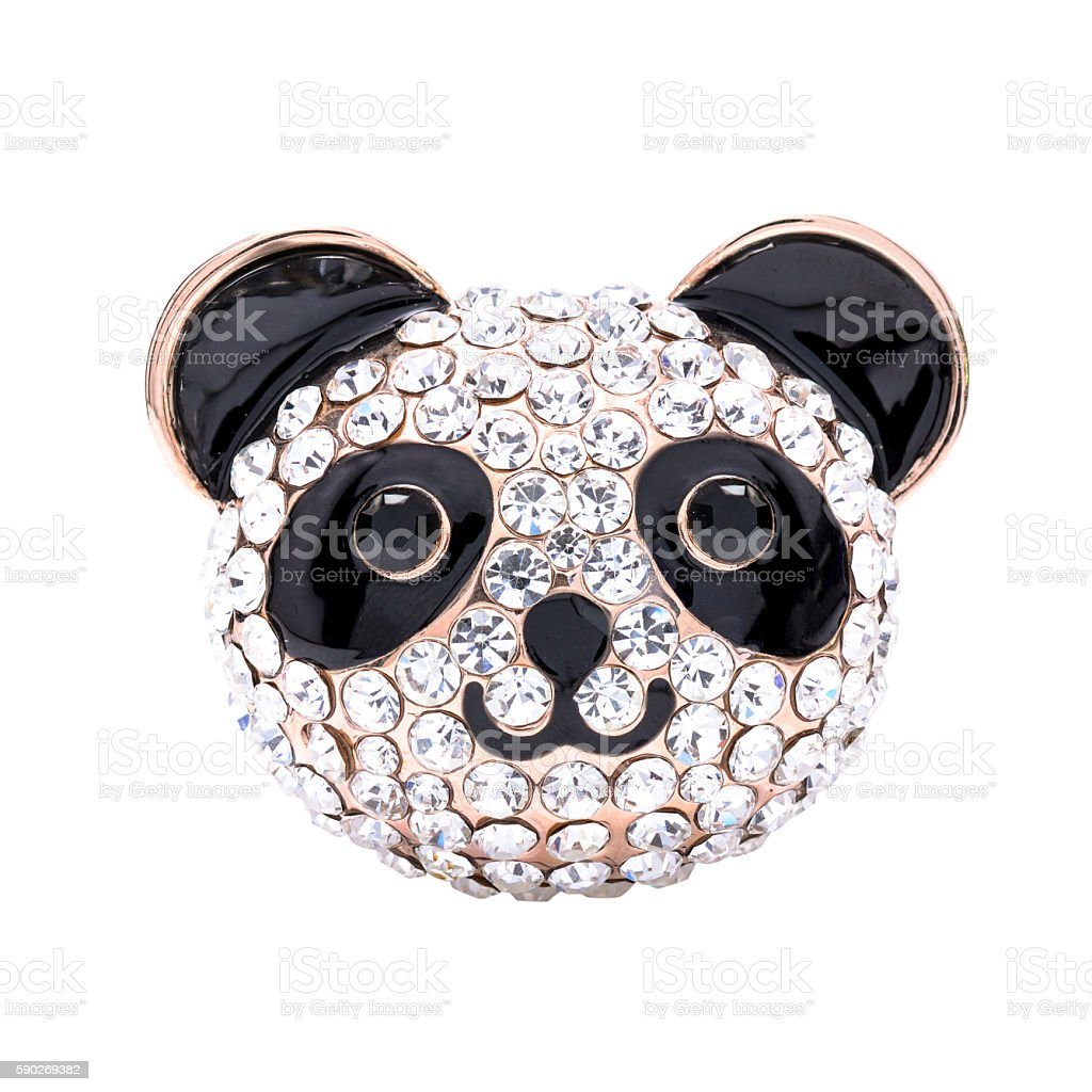 panda brooch isolated on white stock photo