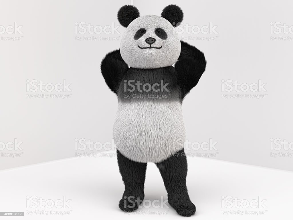 panda character with fur standing on two legs stock photo