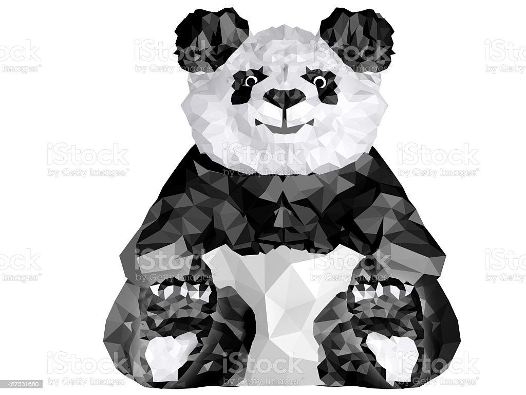 Panda sitting. Low Poly 3D image stock photo