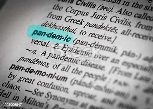 A close-up of the highlighted word 'pandemic' in an old dictionary.