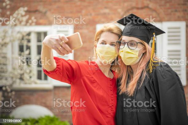 Pandemic Grad Mother And Daughter Selfie Stock Photo - Download Image Now