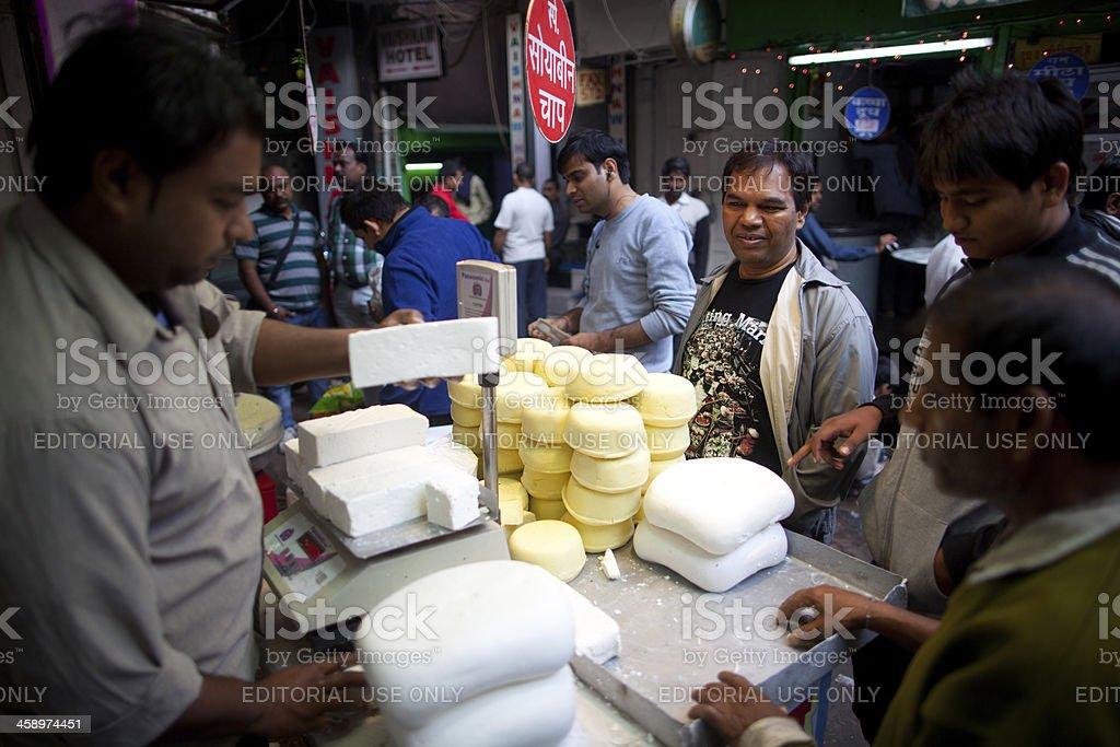 Paneer vendor in New Delhi, India royalty-free stock photo