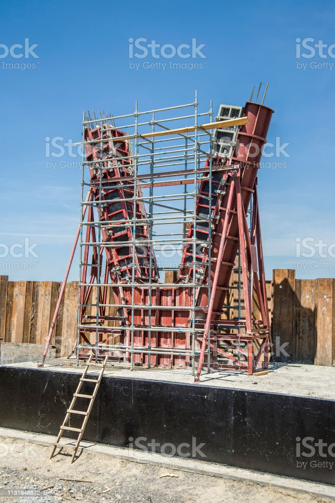 Panel Formwork For The Formation Of Bridge Supports Stock Photo