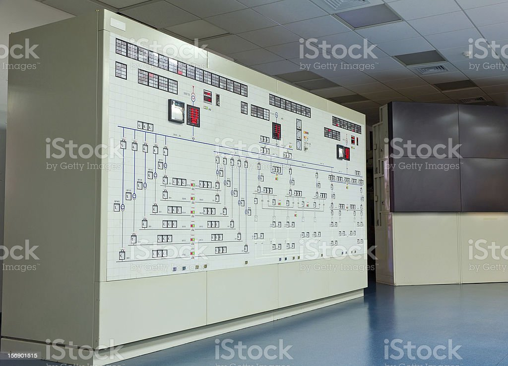 Panel in control room of a natural gas power plant stock photo