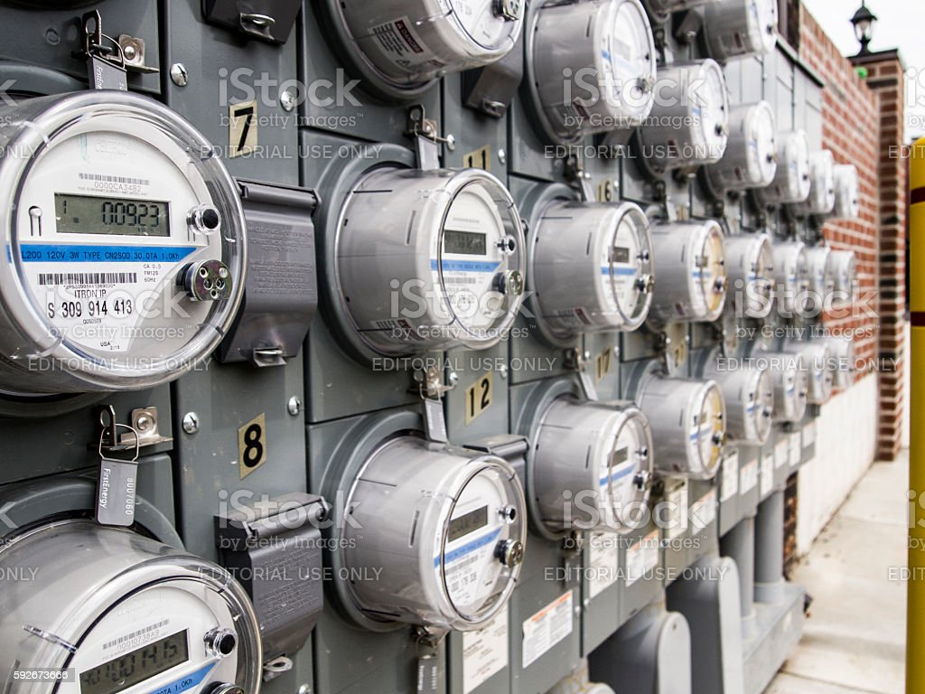 Panel of electric meters stock photo