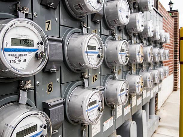 panel of electric meters - messgerät stock-fotos und bilder