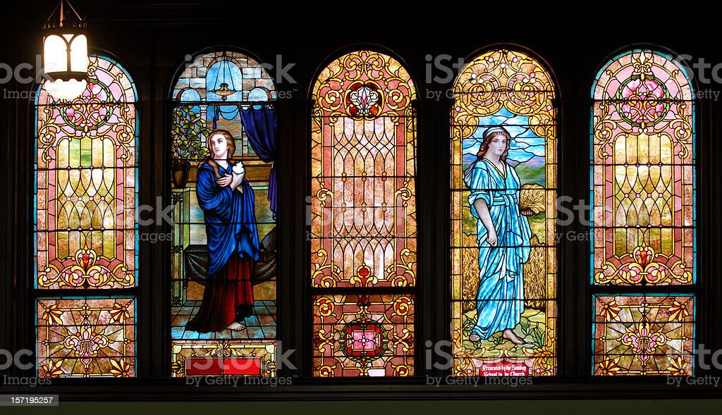 Panel of Five Stained Glass Windows royalty-free stock photo