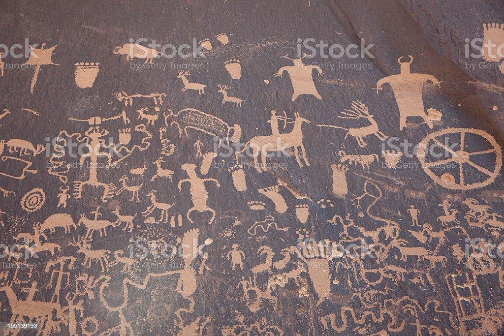 Panel of Native American Newspaper Rock petroglyphs Utah horizontal stock photo