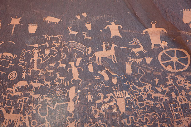 Panel of Native American Newspaper Rock petroglyphs Utah horizontal stock photo