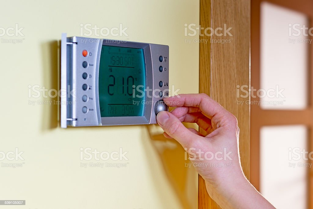 Panel of the gas boiler for hot water and heating stock photo