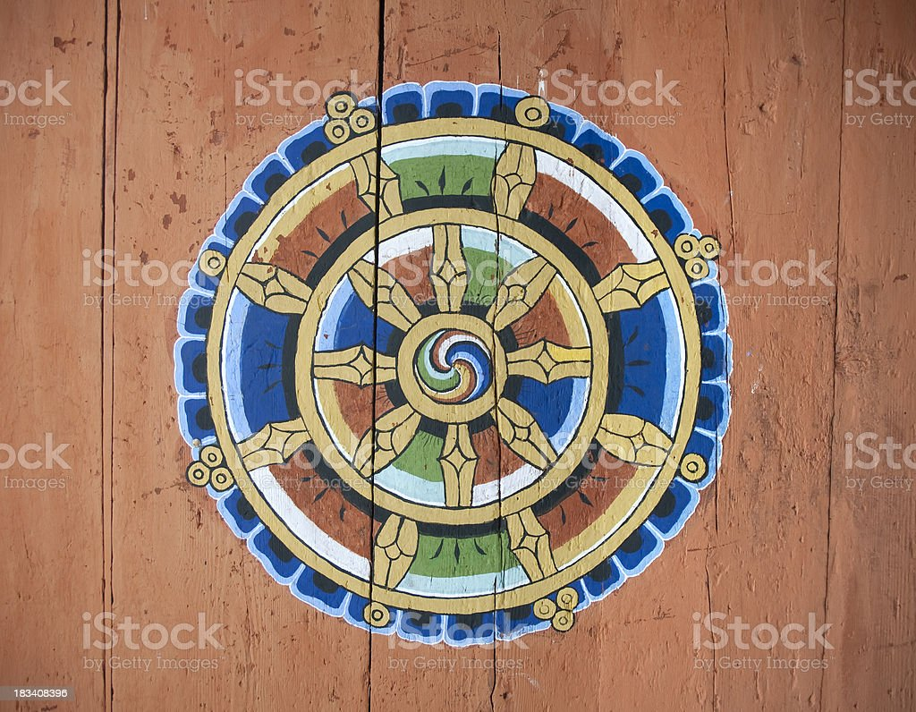 Panel with Gankyil in Jakar Dzong, Bhutan. stock photo