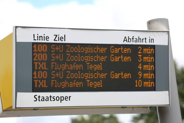 panel with public bus timetables and various stops Berlin, Germany - August 19, 2017: panel with public bus timetables and various stops in the European capital ziel stock pictures, royalty-free photos & images