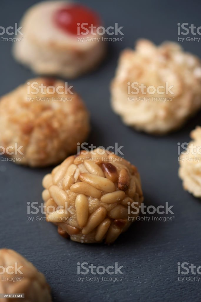 panellets, typical confection of Catalonia, Spain royalty-free stock photo