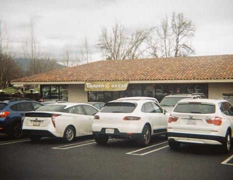 San Ramon, California, United States - January 25, 2018:  Facade of the Panera Bread bakery location in San Ramon, California, January 25, 2018. True analog film photograph shot on 1970s era Teleinstamatic 608 camera