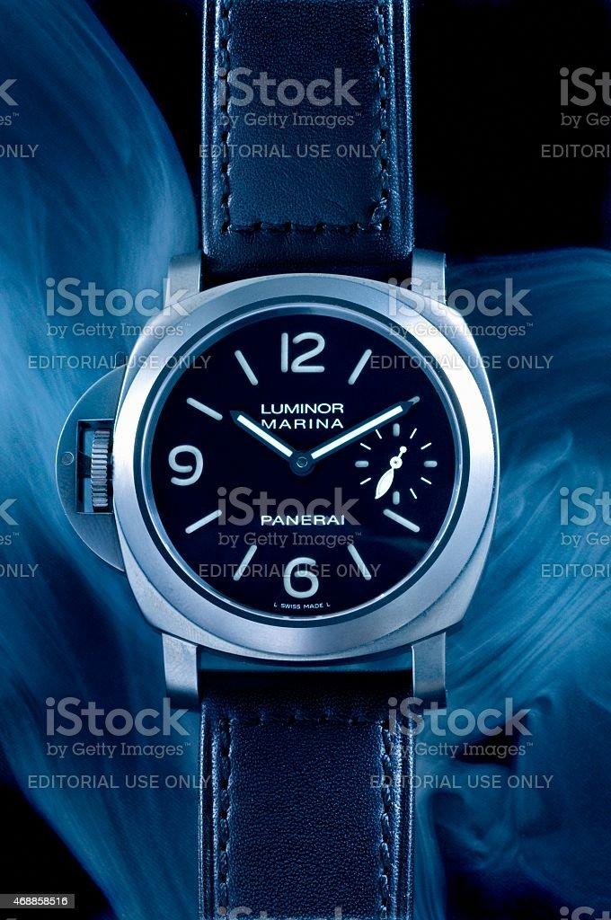 Panerai Luminor Marina left handed wristwatch stock photo