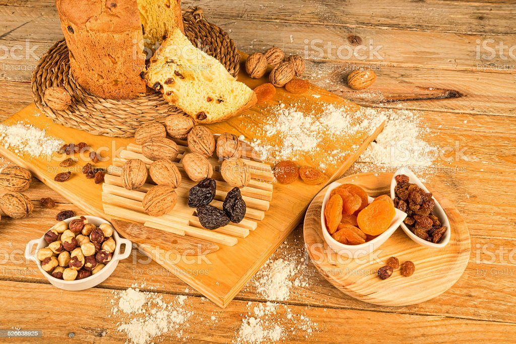 Panettone and ingredients stock photo
