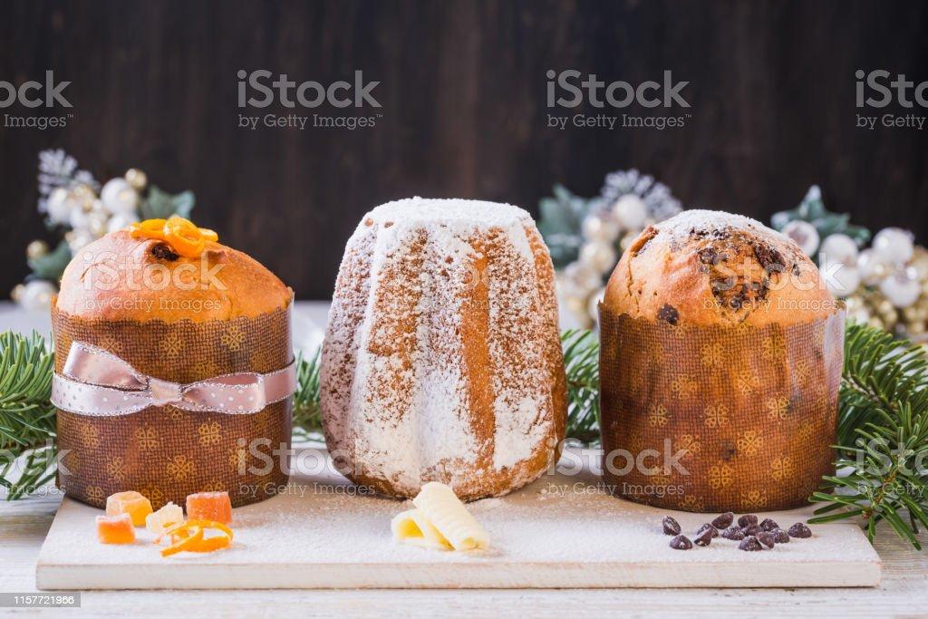 Panettone and pandoro traditional Italian Christmas cake. - Royalty-free Backgrounds Stock Photo