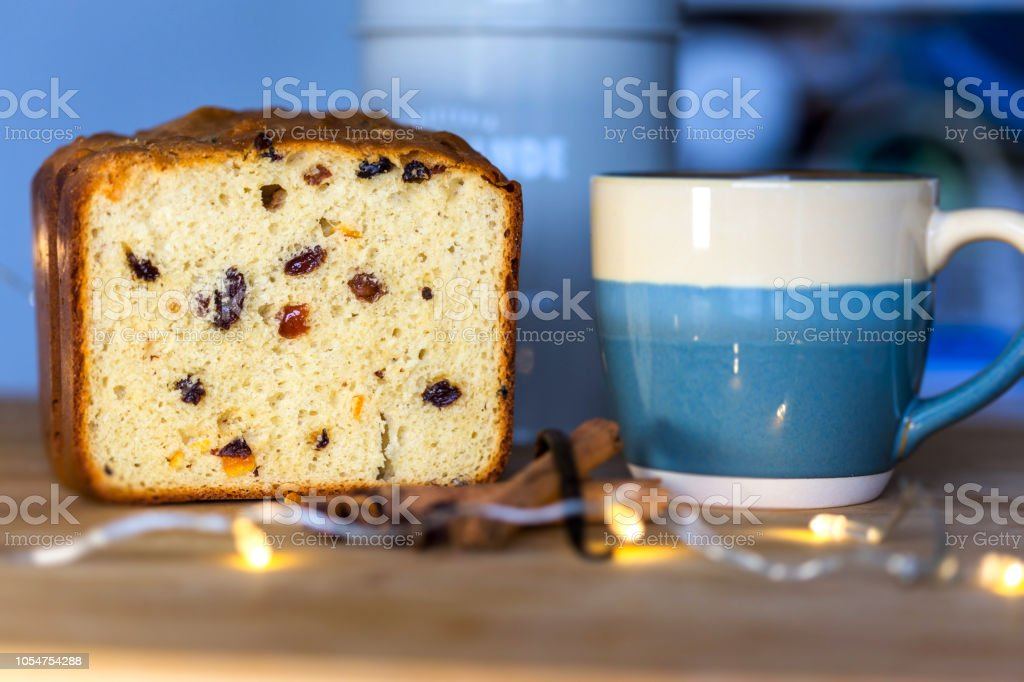 Panettone loaf stock photo