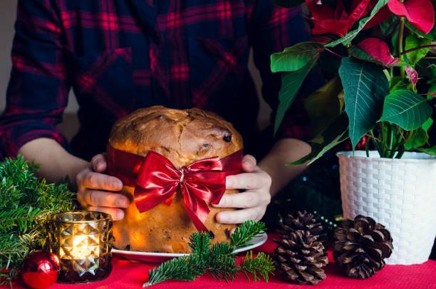 panettone traditional italian cake for christmas - panettone foto e immagini stock