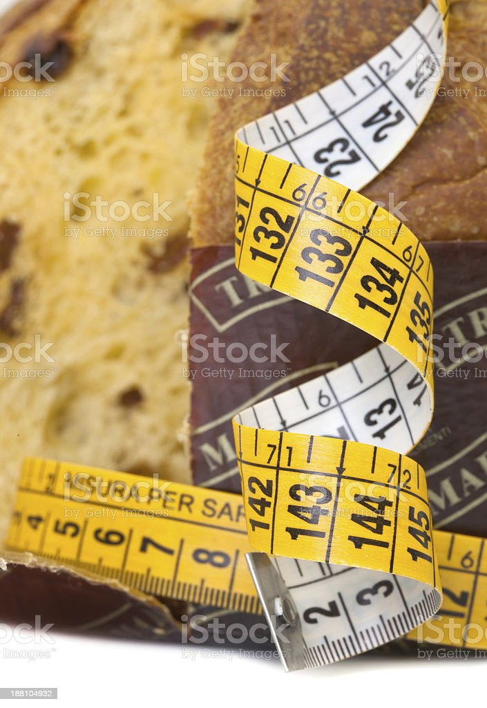 Panettone with meter, diet concept after Christmas stock photo