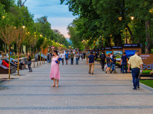 Panfilov street, Almaty, Kazakhstan stock photo