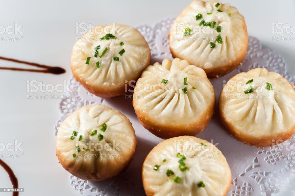 Pan-Fried Baozi Stuffed with Pork stock photo