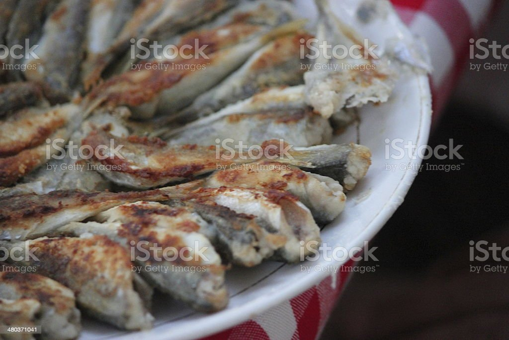Pan-fried Fish (Hamsi) on White Plate stock photo