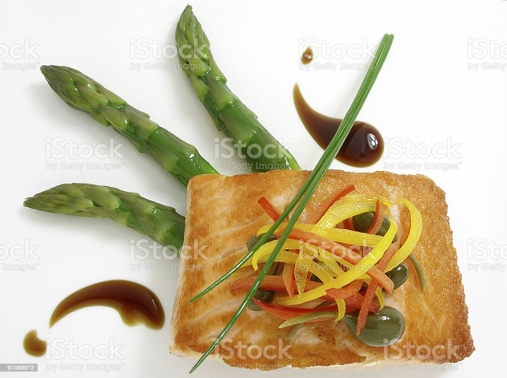 Panfried salmon with asparagus 3 royalty-free stock photo