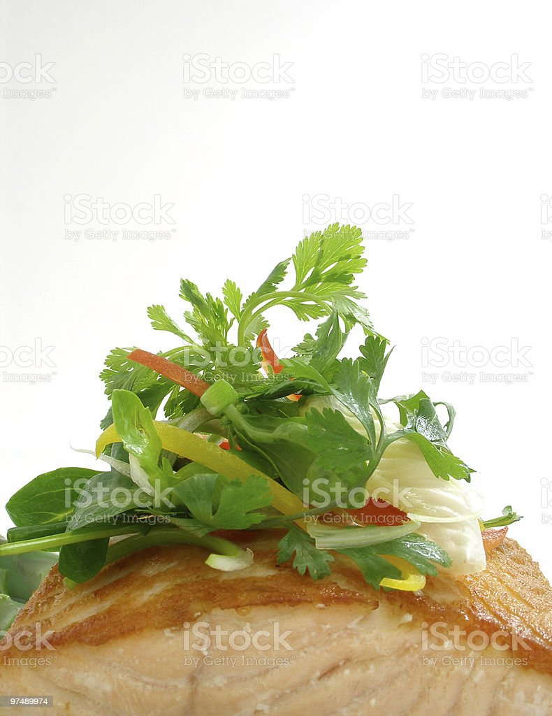 Panfried salmon with salad royalty-free stock photo