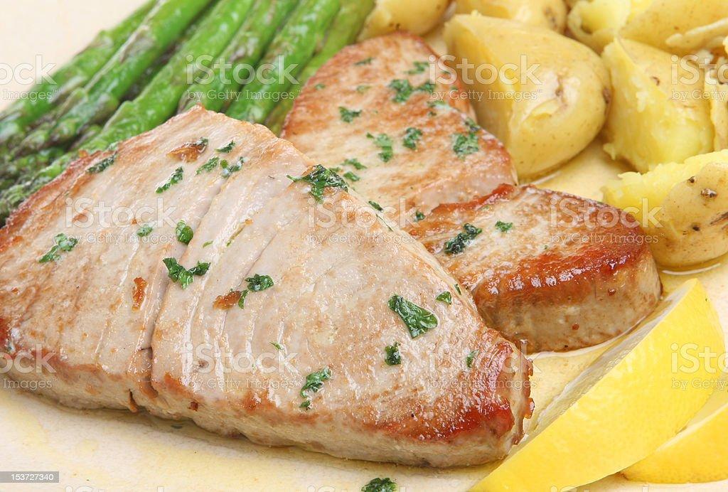 Pan-Fried Tuna Steaks royalty-free stock photo