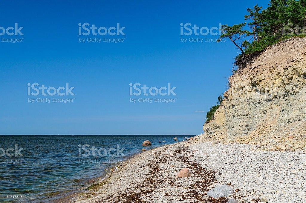 Panga cliff, highest bluff of Saarema island, Estonia stock photo