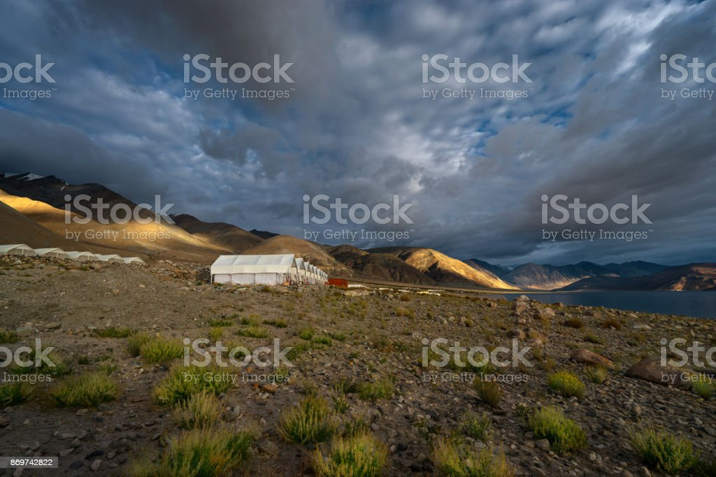 Pangong Lake cloudy storm stock photo