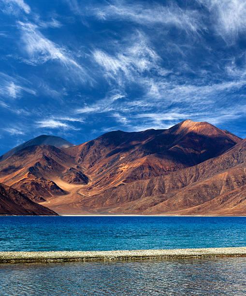 Pangong Lake in Ladakh, Jammu and Kashmir State, India stock photo