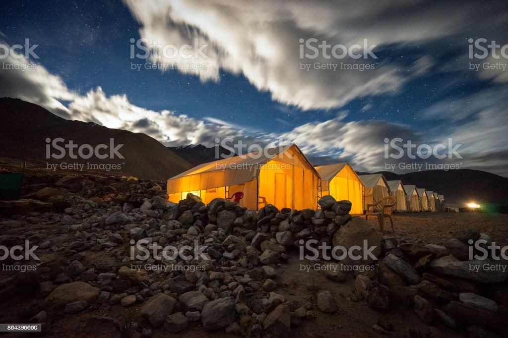 Pangong Lake moonset stock photo