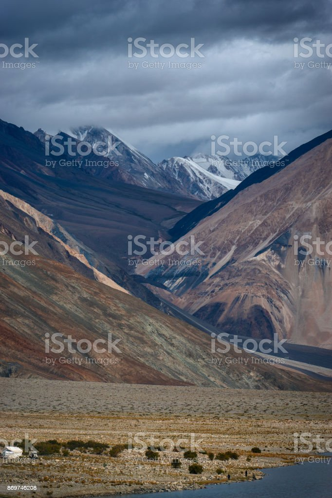 Pangong lake mountain stock photo