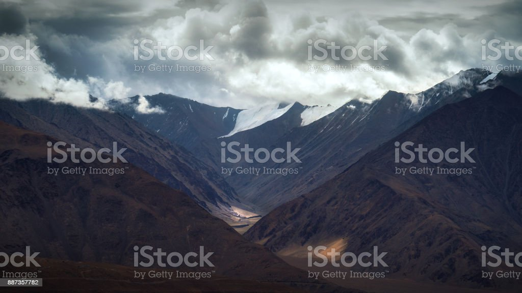 Pangong lake mountain view stock photo