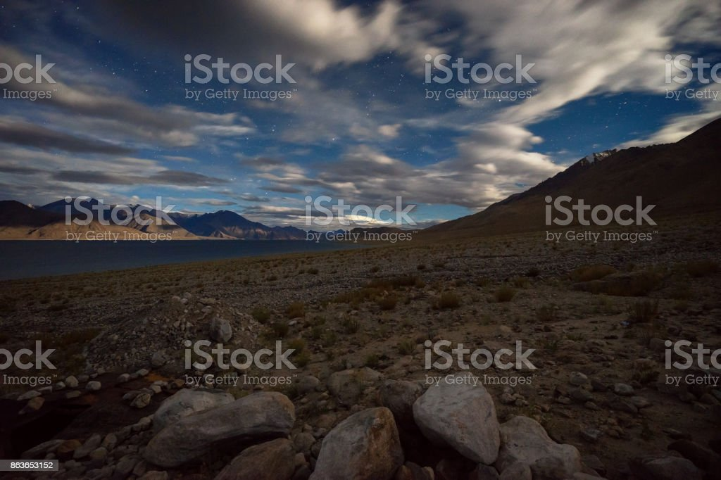 Pangong lake night view stock photo