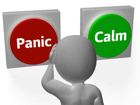 Pánico Calma Botones Mostrar Preocupante Y Tranquilidad Foto de stock y más banco de imágenes de Ansiedad - iStock