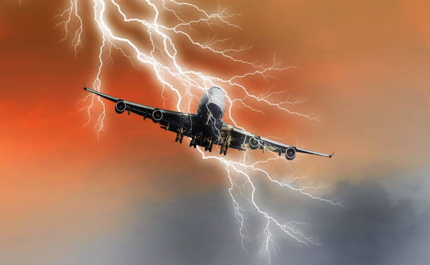 panic in the air.danger in the passenger plane stock photo