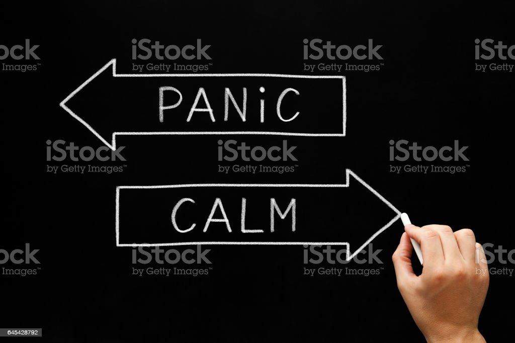 Panic or Calm Arrows Concept stock photo