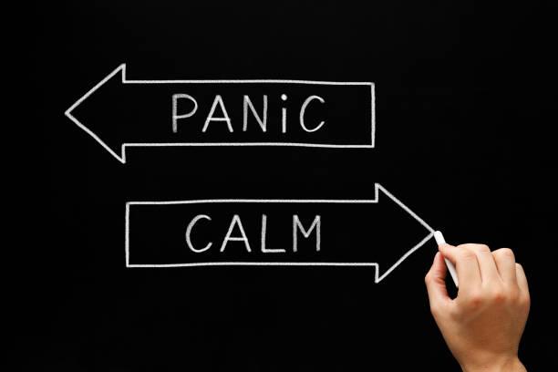 Panic or Calm Arrows Concept stock photo