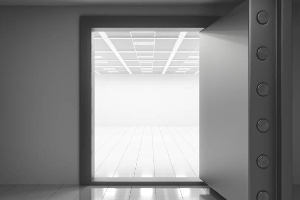 Panic Room With Open Vault Door Panic room with big open vault door. bomb shelter stock pictures, royalty-free photos & images
